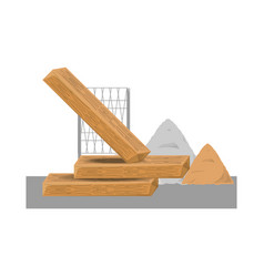 Wooden beam and sand vector