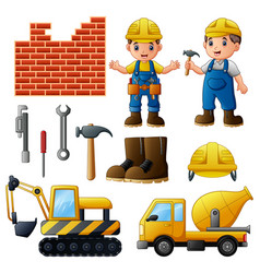 young builders and equipmen vector image