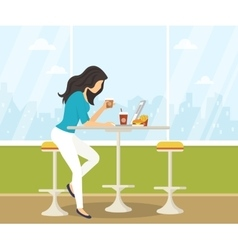 Young woman working with laptop in student cafe vector