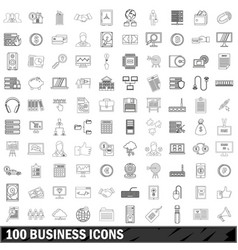 100 business icons set outline style vector image vector image