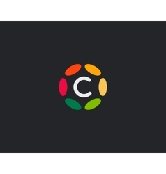 Color letter C logo icon design Hub frame vector image vector image