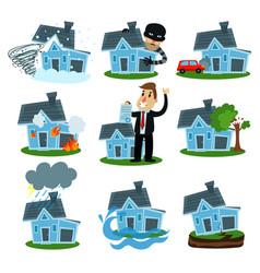 house insurance business service set property vector image