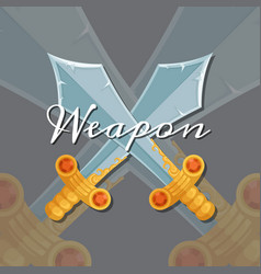 style design medieval crossed sword vector image vector image