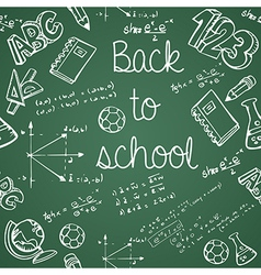 Education icons back to school green chalkboard vector image vector image