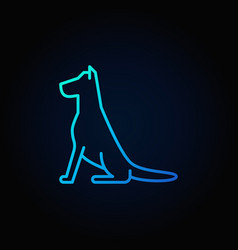 sitting dog line blue icon vector image vector image
