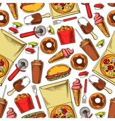 Fast food drinks desserts Seamless background vector image vector image