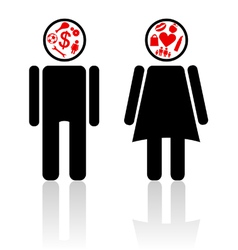 man woman mind vector image vector image