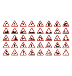 set warning road signs vector image
