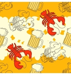 Beer and crawfish pattern vector image vector image