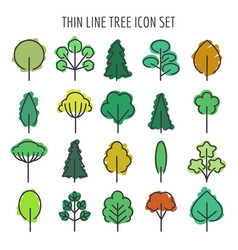 colored hand drawn tree icons vector image vector image