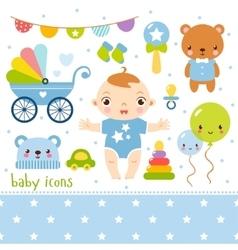 Cute cartoon baby boy set vector image vector image