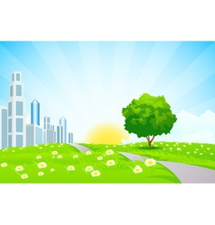 Green landscape with Trees City and Clouds vector image vector image