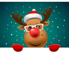 Greeting card Christmas card with reindeer vector image