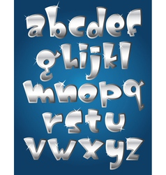 lower case silver alphabet vector image vector image