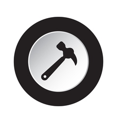 Round black and white button - claw hammer icon vector