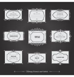 Vintage filigree frames set on chalkboard vector image vector image