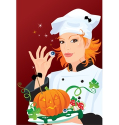 Witch - chef cooking for Halloween party vector image vector image