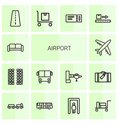 14 airport icons vector
