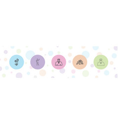 5 pose icons vector