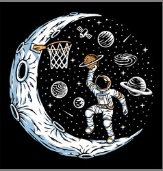 Astronaut playing basketball on moon vector