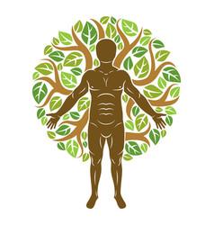 Athletic man created using organic green tree vector