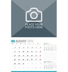 August 2016 Wall Monthly Calendar for 2016 Year vector