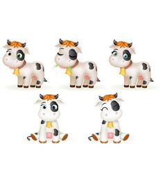 Baby little cow 3d cute calf toy cub cartoon vector