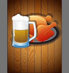 Beer mug and roast chicken vector