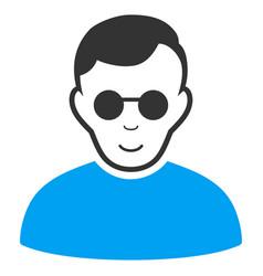 Blind man flat icon vector
