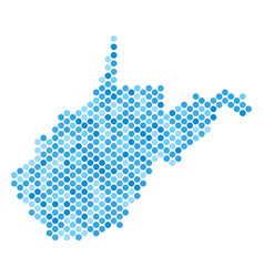 Blue dot west virginia state map vector