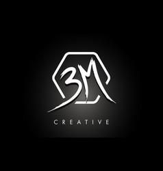 Bm b m brushed letter logo design with creative vector