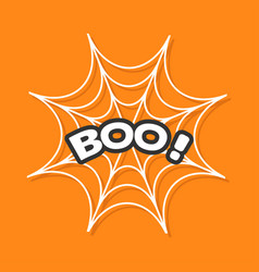 Boo text spider round web cobweb white decoration vector