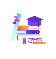 books scroll glasses pencil and graduation hat vector image