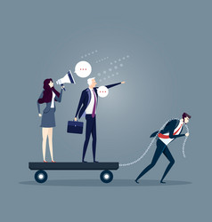 Businessman dragging his bossy coworkers alone vector