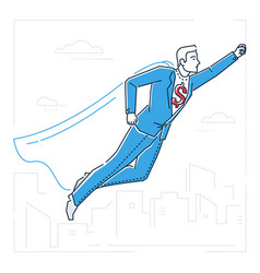businessman with a super power - line design style vector image