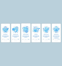 Buyer persona blue onboarding mobile app page vector