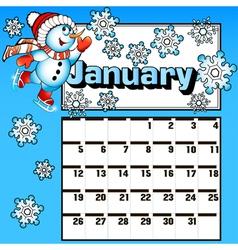 Calendar for January snowman skates vector