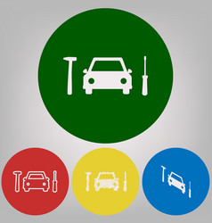 car tire repair service sign 4 white vector image