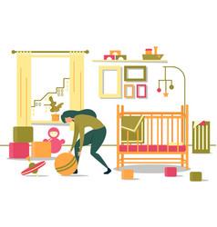 Cartoon mother pick toys from floor in bedroom vector