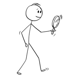 Cartoon of man searching with magnifying glass or vector