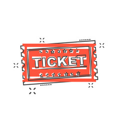 cartoon ticket icon in comic style admit one vector image