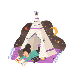 Child reading book in homemade teepee girl vector