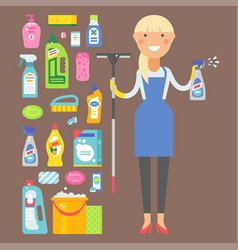 cleanser woman chemical housework product care vector image