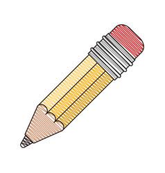 Color crayon stripe image of pencil with eraser vector