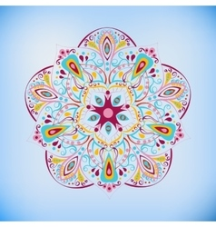 Colorful mandala on the blue vector image