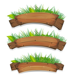 Comic wood banners with plants leaves vector