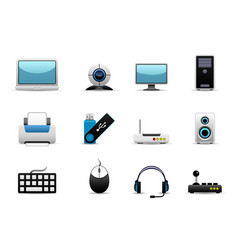 computer hardware icons a group of it hardwares vector image