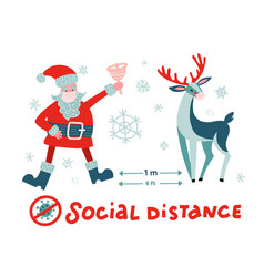 Covid19-19 and social distancing with cute christm vector