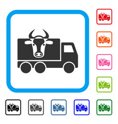 Cow transportation framed icon vector