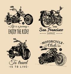 Custom chopper and motorcycle logos set vintage vector